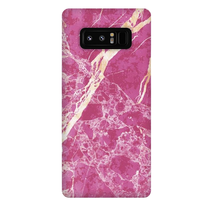 Vibrant Fuchsia pink marble with golden cracks