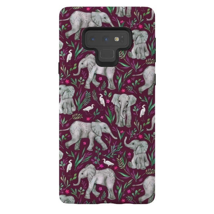 Little Watercolor Elephants and Egrets on Burgundy Red