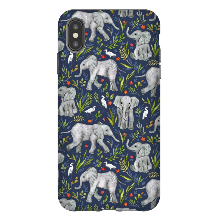 Little Watercolor Elephants and Egrets on Navy Blue