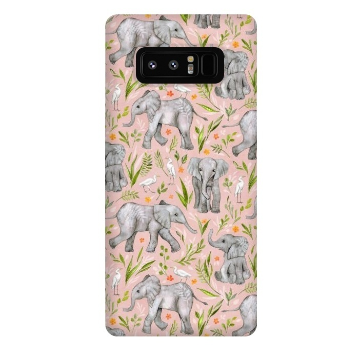 Little Watercolor Elephants and Egrets on Blush Pink