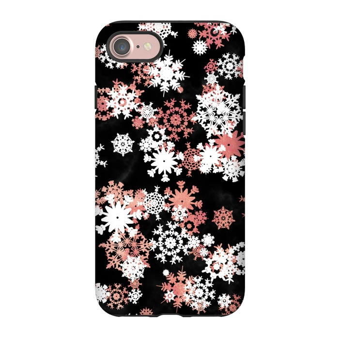 Rose gold and white snowflakes on black background