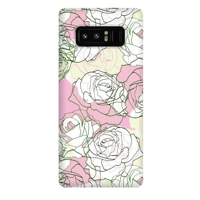 Pink beige line art roses