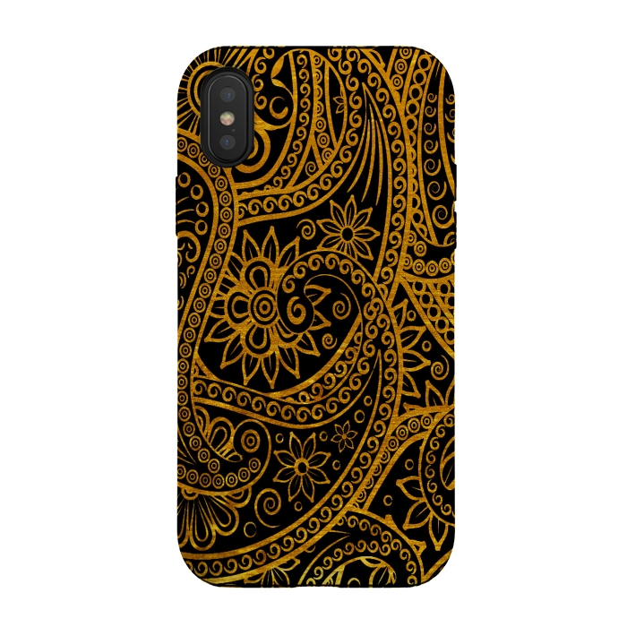 Mandala Doodles in gold mobile cover