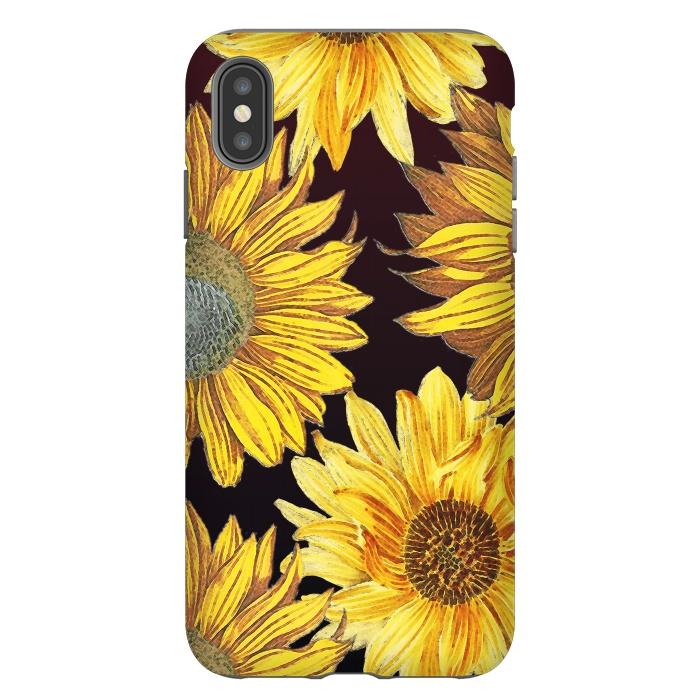 Sunflowers illustration on dark brown background