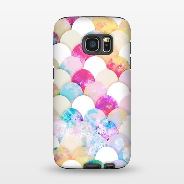 Colorful watercolor splattered seashells pattern