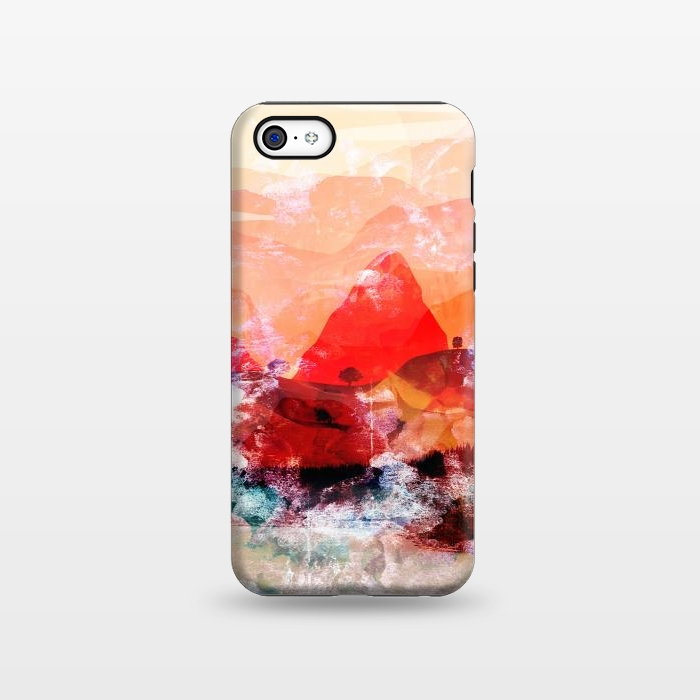 Red peach abstract brushed mountain landscape