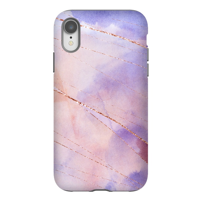 Purple and Rosegold watercolor with gold veins