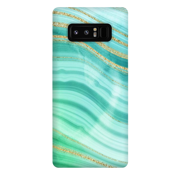 Teal Turquoise and Gold Foil Marble Waves