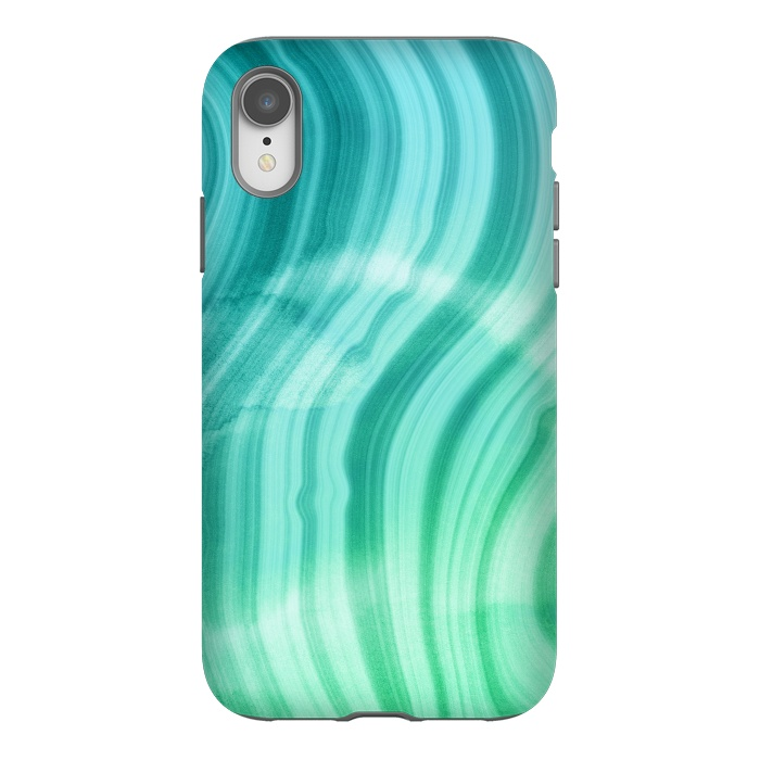 Teal and White Marble Waves