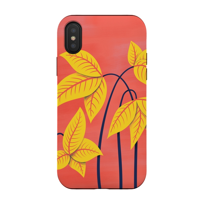 Abstract Flowers Geometric Art In Vibrant Coral And Yellow