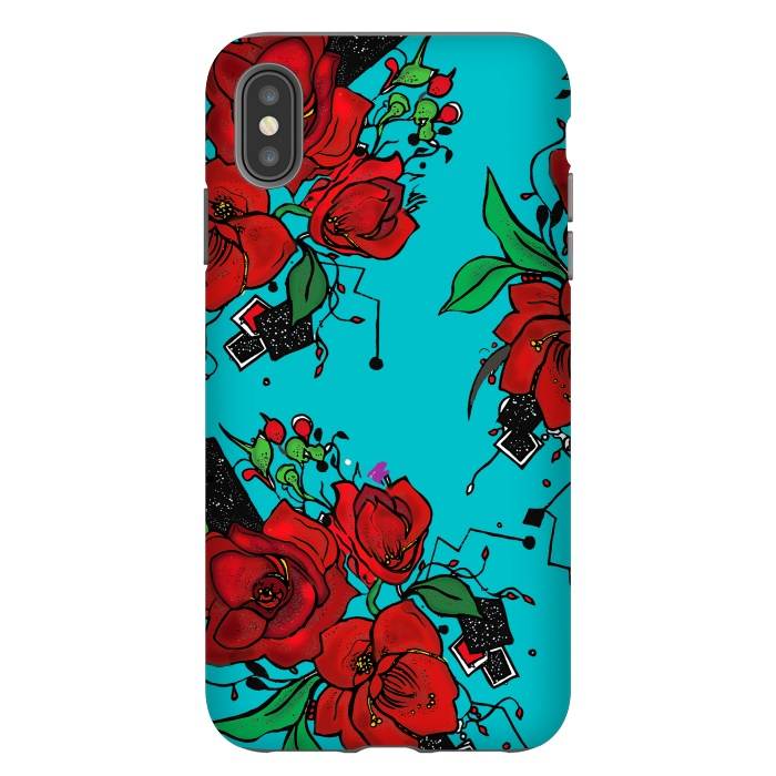 Flowers floral roses peoies deign handrawn artwork red blue phonecase geometric art phonecase