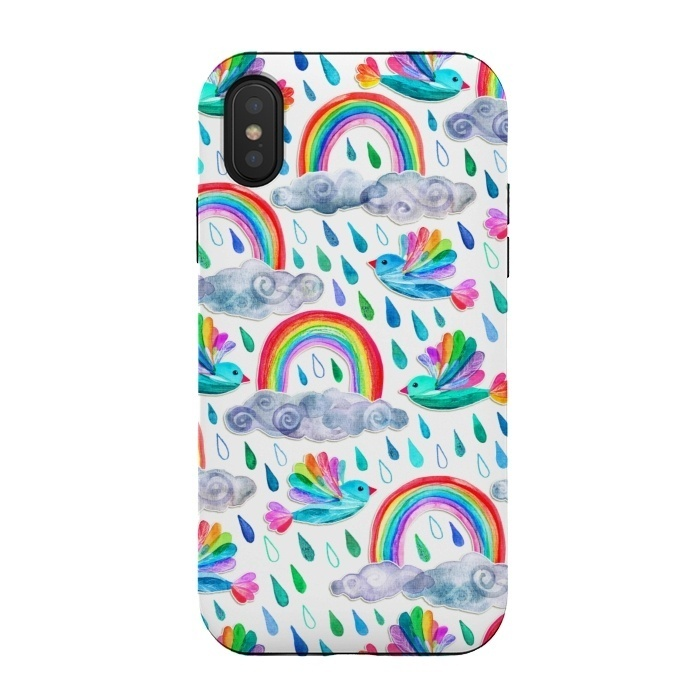 Happy Rainbow Birds on White