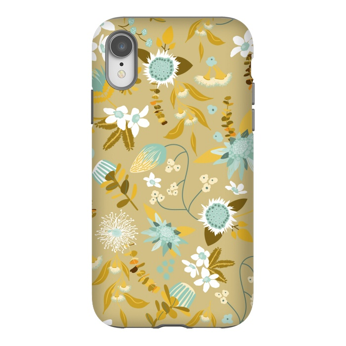 Stylized Australian Florals in Blue and Cream