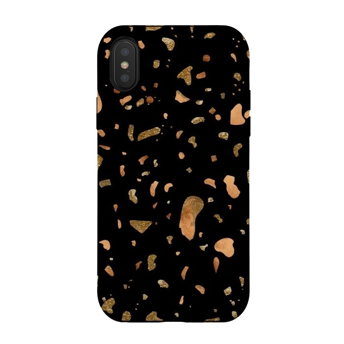 Black Terrazzo with gold and copper spots