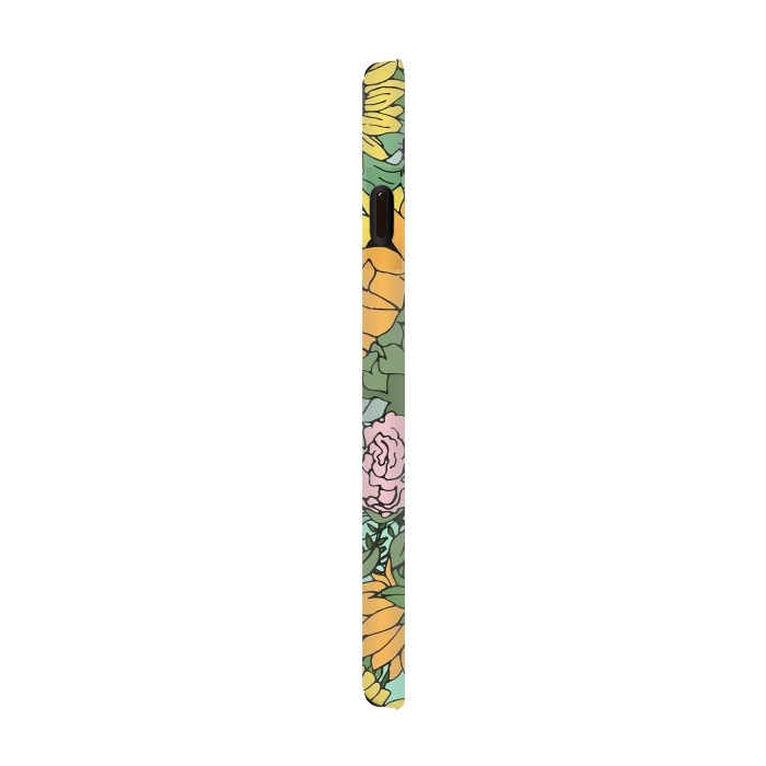 Trendy yellow sunflowers and pink roses mint design