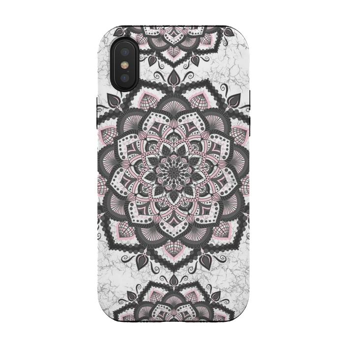 Black pink mandala flower