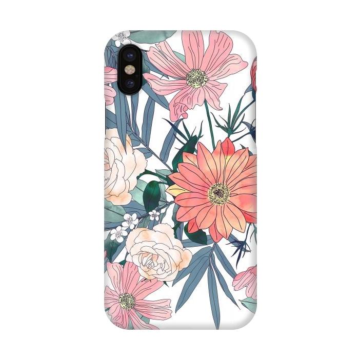 Elegant pink and blue watercolor floral design