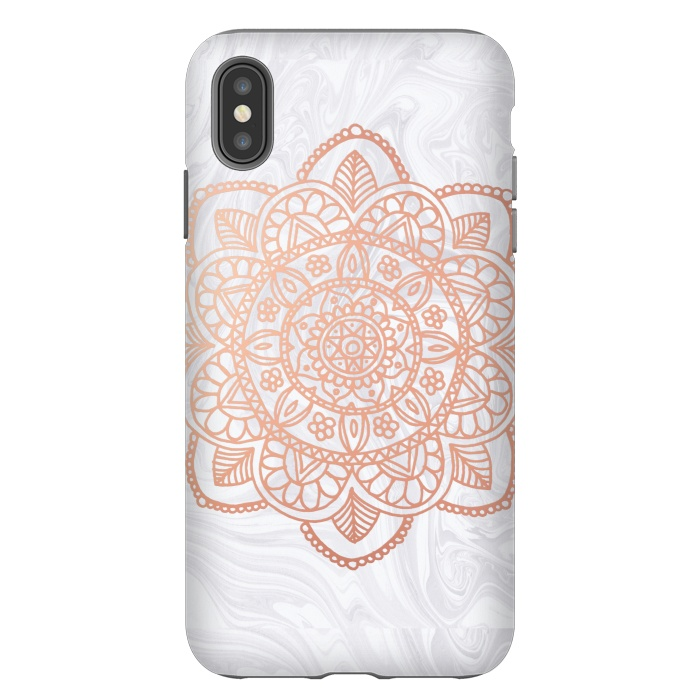 Rose Gold Mandala on White Marble