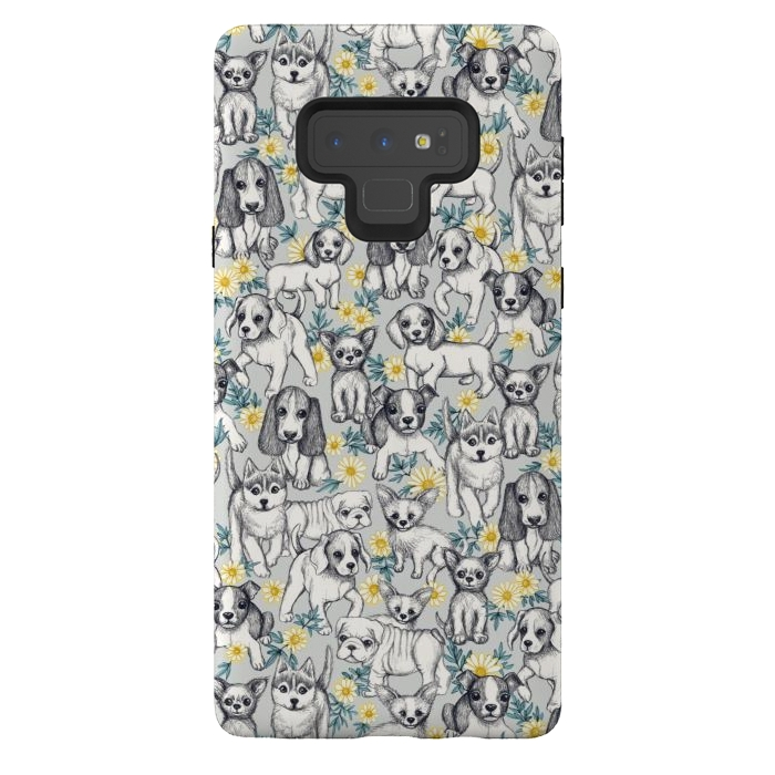 Dogs and Daisies on Grey