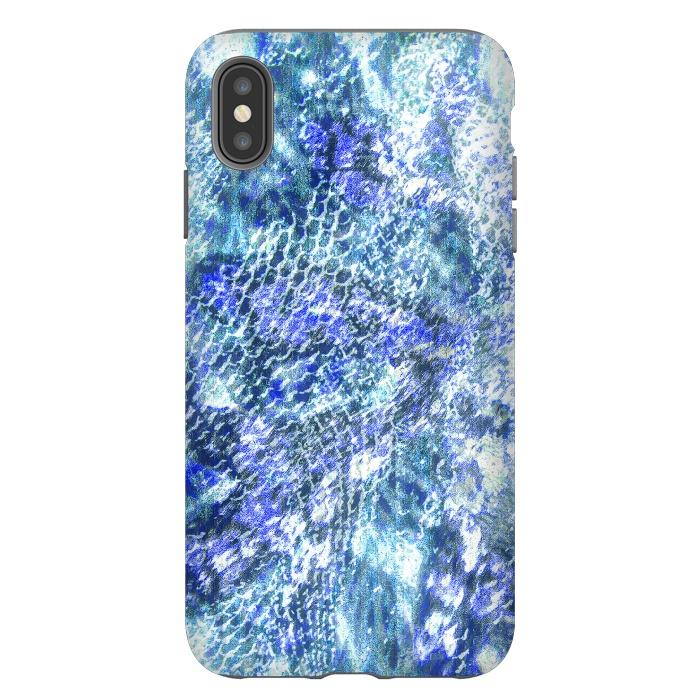 Blue watercolor snake skin pattern