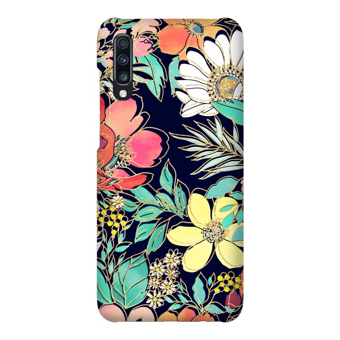 Cute girly pink floral golden strokes design