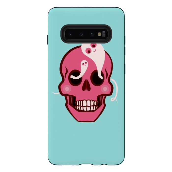 Cute Pink Skull With Spider And Ghosts In Eyes