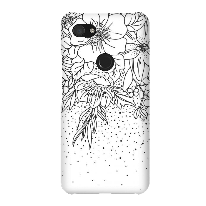 Cute Black White floral doodles and confetti design