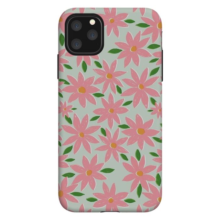 Pretty Hand Paint Pink Daisy Flowers Mint Design
