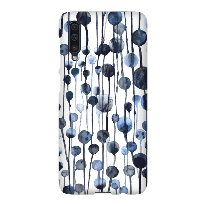 Dripping Watercolor Dots Navy