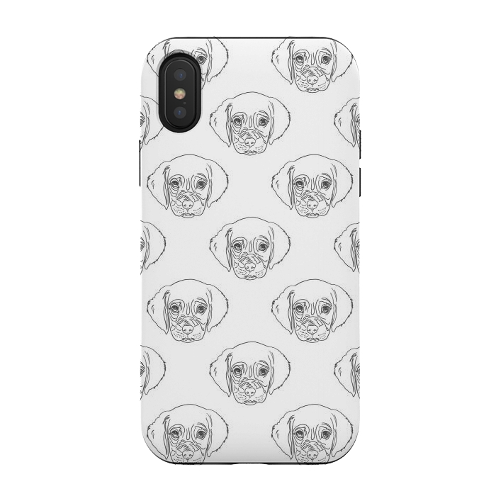 Cute Gray Puppy Dog Hand Drawn Strokes Pattern