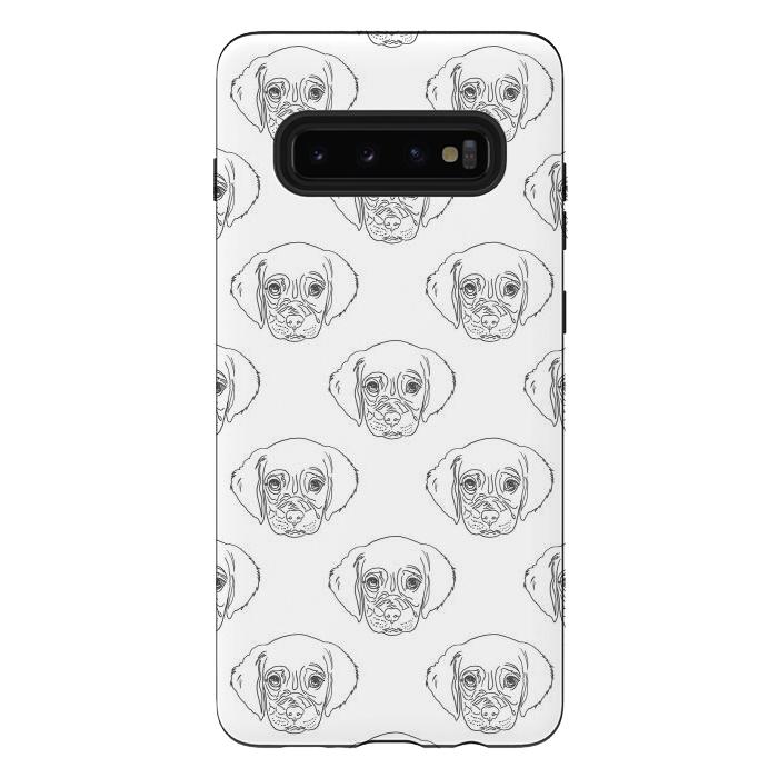 Cute Gray Puppy Dog Hand Drawn Strokes Pattern