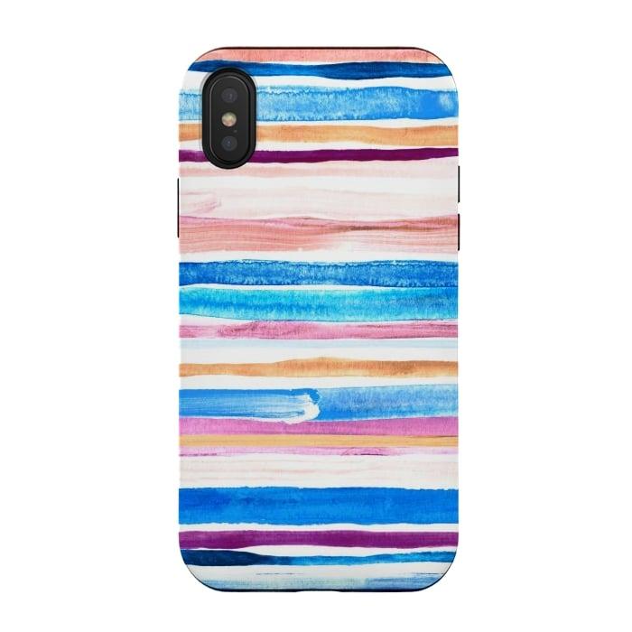 Pastel Pink, Plum and Cobalt Blue Gouache Stripes