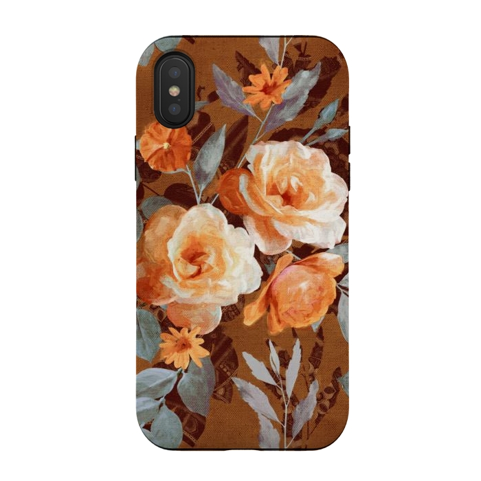 Chintz Roses on Rust Brown