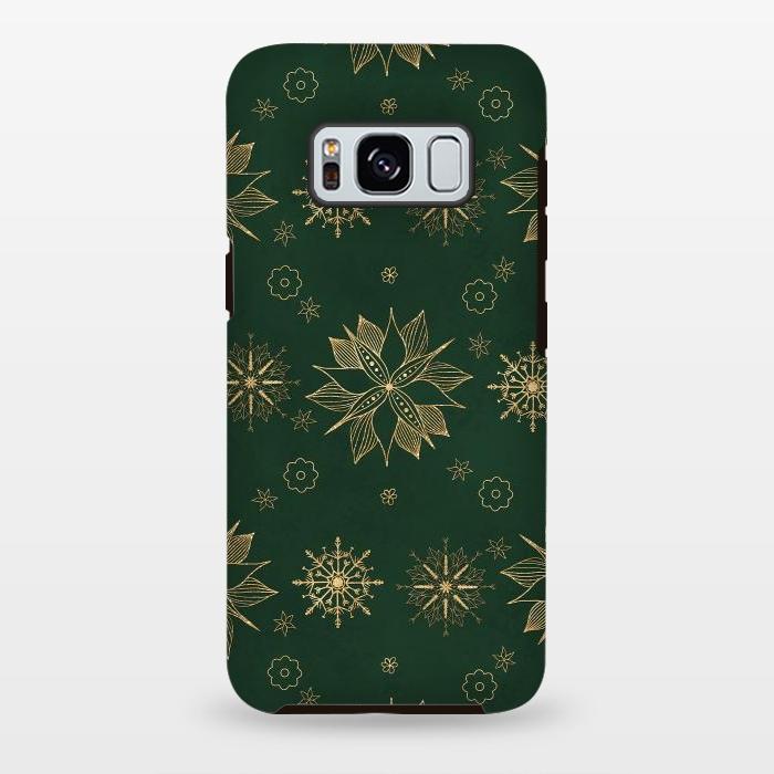 Elegant Gold Green Poinsettias Snowflakes Winter Design