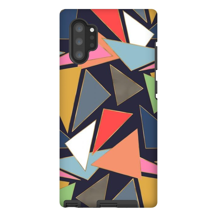 Modern Contemporary Gold Strokes Colorful Triangles