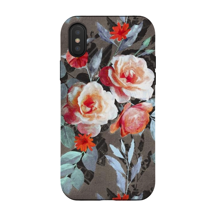 Retro Rose Chintz in Scarlet, Peach, Sage and Grey