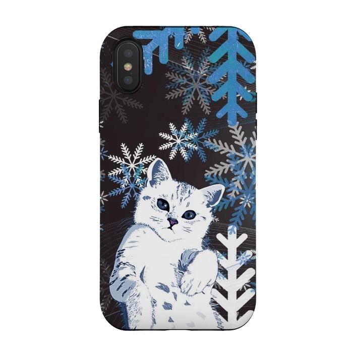 Cute kitty with blue metallic snowflakes
