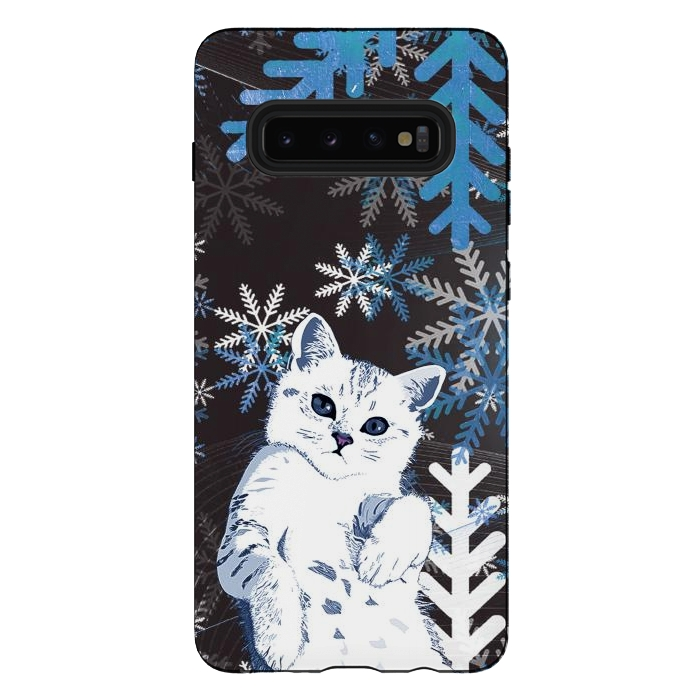 Cute kitty with blue metallic snowflakes