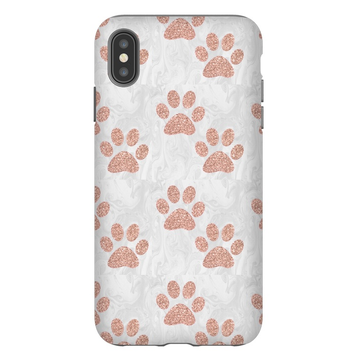 Rose Gold Paw Prints on Marble