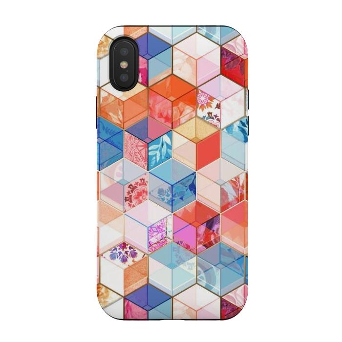 Coral, Cream and Cobalt Kaleidoscope Cubes