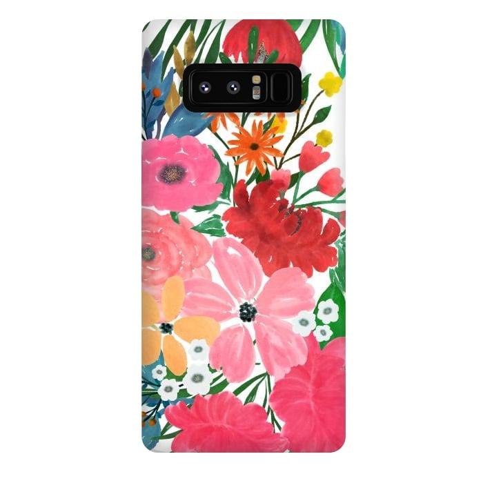 Trendy Pink watercolor Floral Bouquet White Design