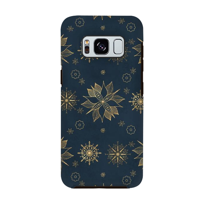Elegant Gold Blue Poinsettias Snowflakes Pattern