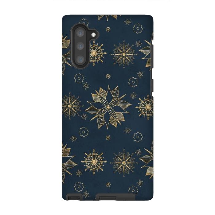 Elegant Gold Blue Poinsettias Snowflakes Pattern