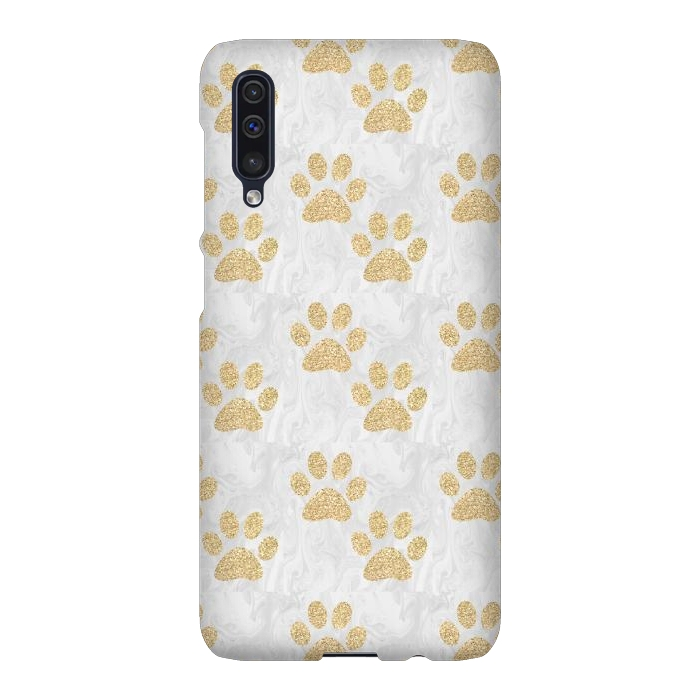 Gold Paw Prints on Marble