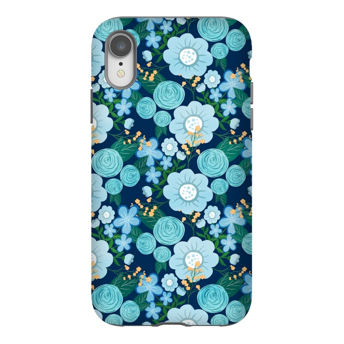 Cute Girly Blue Hand Drawn Flowers Pattern
