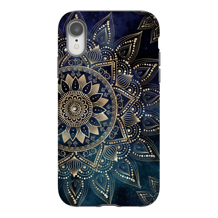 Elegant Gold Mandala Blue Galaxy Design