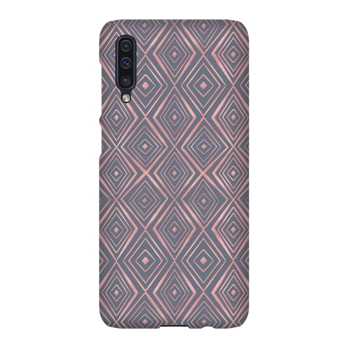 Stylish Rose Gold Diamond Shapes Doodles Gray Pattern