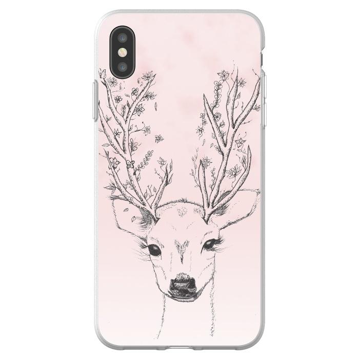 Cute Handdrawn Floral Deer Antlers Pink