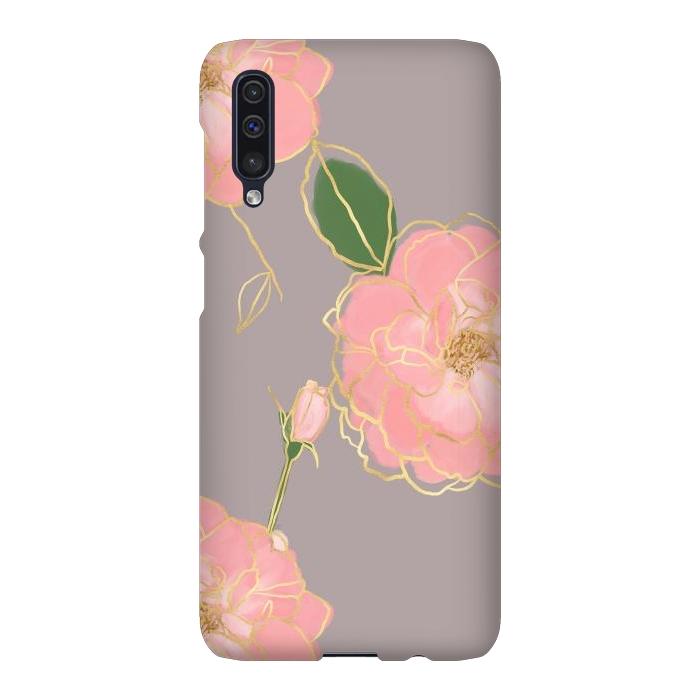 Elegant Pink & Gold Watercolor Roses Gray Design