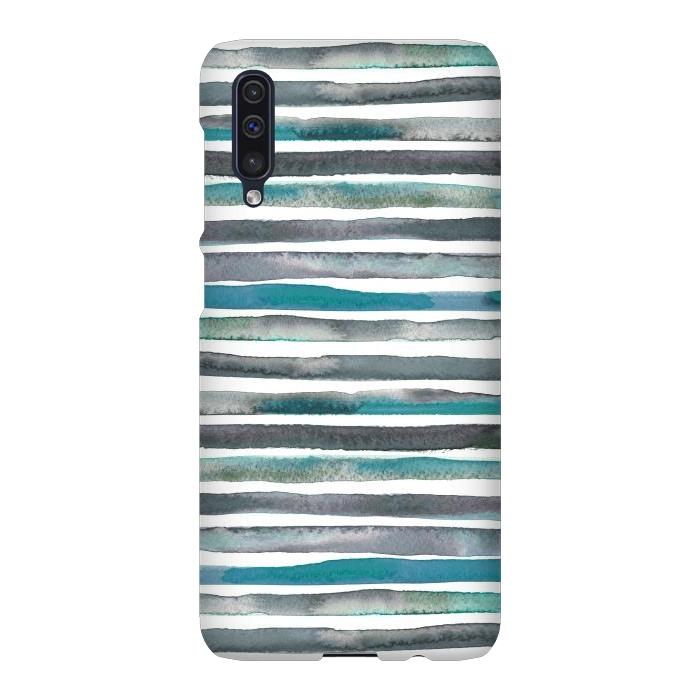 Watercolor Stripes and Lines Blue Aqua